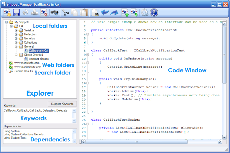 Click to view Snippet Manager 2010 screenshot